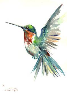 Hummingbird art flying hummingbird original by ORIGINALONLY