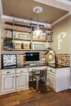 Mimic floating shelves. Brick and color scheme good!