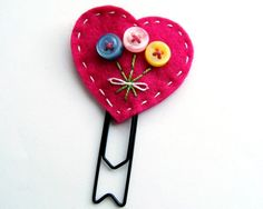 Button Heart Bouquet Paperclip Bookmark READY TO SHIP. $6.00, via Etsy.
