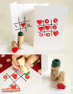 Simple tic tac toe homemade valentine cards for your kids to have fun making. My only input on this activity was to glue the heart and bead onto the wine corks – and to be the O and lose, deliberately on purpose!!  valentine-cards/