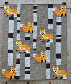 Fox among the Birches finished size is 38 x 45. Scroll through the photos above to see different colourways. Use traditional piecing methods to make this block. No paper piecing. No annoying templates. Just simple straight lines and diagonal seams. The Fox among the Birches Quilt