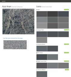 Azul Aran. Granite Collection . Natural stone slabs. Daltile. Behr. Valspar Paint. Benjamin Moore. PPG Paints. Ralph Lauren Paint. Sherwin Williams.  Click the gray Visit button to see the matching paint names.
