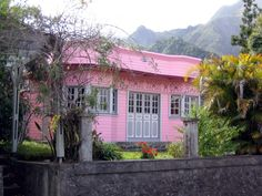 Pink creole cabin. Cilaos, Reunion Island