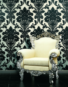 Balck & White flocked damask #wallpaper. Kashmir italian luxury #wallcoverings. Made and Designed in Italy Max Martini Home