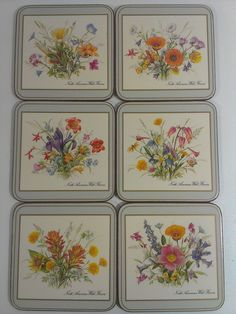 Pimpernel #Cork #Deluxe #Coasters #WILD #FLOWERS Set of 6 Made in #England  #Pimpernel