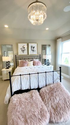 Ballet pink girls bedroom design Beautiful pink girls room decor with blush fur ottomans, ballet shoes hanging, mirrors above the nightstands & white Cute Bedroom Ideas, Room Ideas Bedroom, Home Decor Bedroom, Modern Bedroom, Bedroom Furniture, Ikea Bedroom, Bedroom Inspiration, Girls Bedroom Decorating, Modern Teen Bedrooms