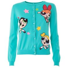 MOSCHINO Powerpuff Girl cotton cardigan sweater ($308) ❤ liked on Polyvore featuring tops, cardigans, jackets, sweaters, light blue, blue long sleeve top, colorful cardigans, button front tops, cotton cardigan and button front cardigan