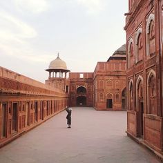 Agra Fort | This red sandstone fort and palace was begun by Emperor Akbar in 1565. Further additions were made, particularly by Shah Jahan who added white marble palace buildings. Agra, Uttar Pradesh, India.