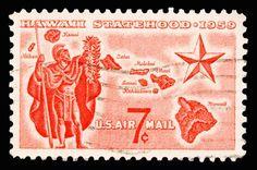 Hawaii statehood post stamp, circa 1959