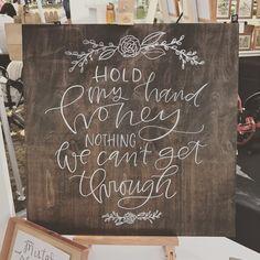 """""""Hold my hand, honey, nothing we can't get through."""" Our wood signs are a lovely piece of art you can use as photo props, decor during your wedding or event, and as decoration for your home. Each piec"""
