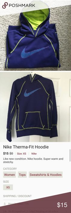 Nike Therma-Fit Hoodie Like new condition. Nike hoodie. Super warm and stretchy. Nike Tops Sweatshirts & Hoodies