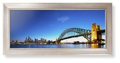 Sydney Harbour Bridge Framed Print, Metallic, Modern, None, None, Single piece, 10 x 24 inches