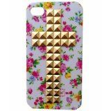 Fashionable Flower Pattern Studded iphone 4 4G 4S phone Case for Girl with Gold Pyramid Studs and Spikes , iPhone cases