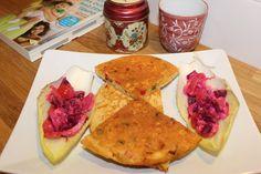 BPC pancakes and pink crunchy salad