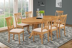 9-Pc Dining Table Set in Oak Finish