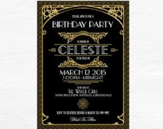 Gatsby Invitation Art Deco Birthday Party or by WestminsterPaperCo
