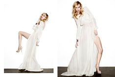 Angie Gown: Sand Washed Charmeuse long sleeved, open back gown with front slit.