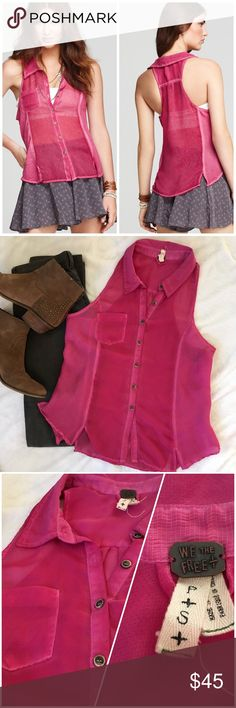 🆕Sleeveless collared pocket button down racerback Slightly distressed racerback sleeveless button down blouse in a bright magenta from Free People. Paneled construction and flowy light fit. Perfect with a light sweater and skirt for spring! Excellent pre owned condition, no flaws. Size Small. Free People Tops Tank Tops