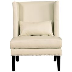 TOV Furniture Chelsea Cream Leather Wing Chair TOV-CHE-CBL