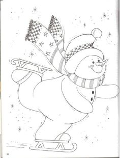 Christmas Coloring Pages - Snowman Christmas Colors, Christmas Art, Christmas Projects, Christmas Coloring Pages, Coloring Book Pages, Snowman Quilt, Theme Noel, Christmas Drawing, Snowman Crafts
