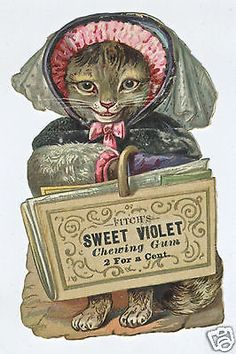 Fitch's Kitten Cat Sweet Violet Chewing Gum Trade Card