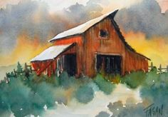 Barn watercolor by Fagan Watercolor Barns, Watercolor Architecture, Watercolor Landscape, Watercolour Painting, Landscape Art, Painting & Drawing, Landscape Paintings, Watercolors, Barn Paintings
