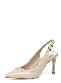 Wide fit nude slingback court shoes