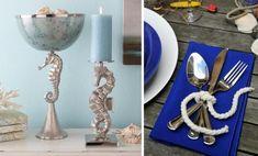 Tischdeko Nautische Motive-Seil Seepferd Kerzenständer