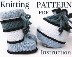 Knitting PATTERN Baby Set Baby Shoes Baby Booties Knitted Baby Beanie Knitting PATTERNS for Baby Boy Baby Girl Pattern Knitted Baby Hat PDF