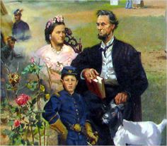 Detail from a mural near President Lincoln's Cottage depicts the Lincoln family