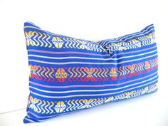 Long Bolster Pillow , Tribal Bedding, Blue Decorative Pillow ,  Aztec pillow, Blue Pillow, Black Friday Etsy, Cyber Monday Etsy, $49