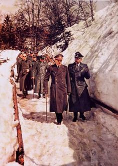 Adolf Hitler and Heinrich Himmler on a Winter walk in January, 1945. -