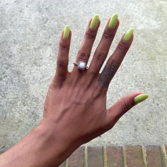 OPI Life Gave Me Lemons, Gel polish. Natural nails, coffin shape.