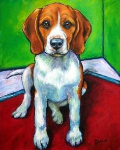 Beagle Dog Art 11x14 Print by Dottie Dracos Beagle by DottieDracos