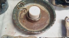 Recycled clay, poured into a mold for a Candle dish