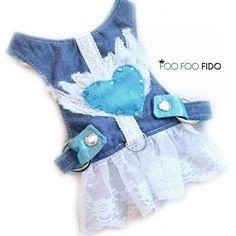 Whitney Love has Wings, Denim Dog Harness Dress, Choke Free, Adjustable Small Dog Harness Vest by Foo Foo Fido