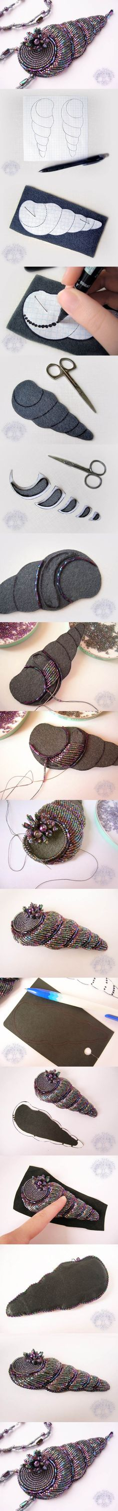 DIY Beaded Spiral Shell Pendant | iCreativeIdeas.com Like Us on Facebook ==> https://www.facebook.com/icreativeideas