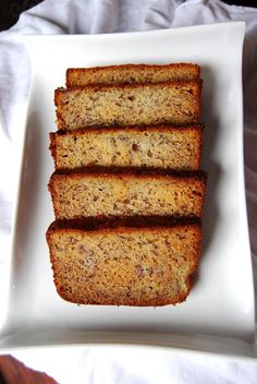 The perfect banana bread! I added some cinnamon and used half a cup brown sugar and half a cup white instead of the full cup white like it calls for-- but it's GORGEOUS.
