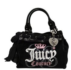 JUICY COUTURE Crown Glitter Daydreamer Tote Bag Purse Handbag Black-One Size