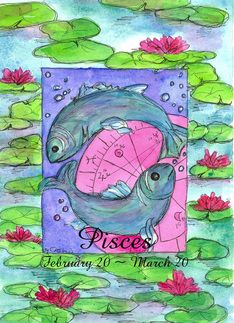 Pisces Zodiac Sign Birthday Card Greeting Card