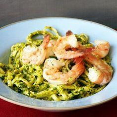 Rachael Ray's Red and Green Pesto with Pasta and Lemon Shrimp 30-Minute Meals