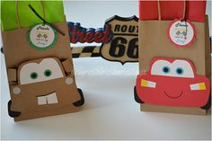 Cars Favor Bags / McQueen, Mater e Sally Goody Bags / Cars Party Cars Birthday Parties, 3rd Birthday, Favor Bags, Goodie Bags, Disney Cars Party, Car Themes, Candy Bags, Favors, Goodies