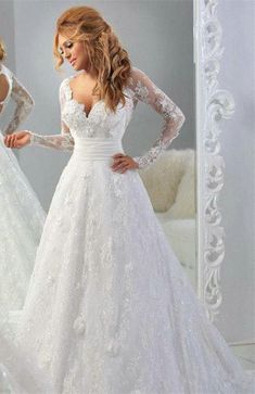 $239-Lace Long Sleeves A-line Wedding Dresses 2016 Hollow Back Sexy Court Train Bridal Gowns