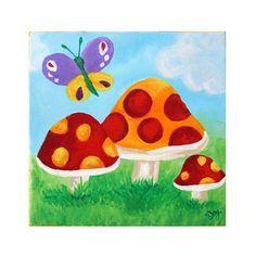 Girls Room Art BUTTERFLY MUSHROOMS 8x8 Acrylic Canvas by nJoyArt, $38.00m #nursery #girls room #decor