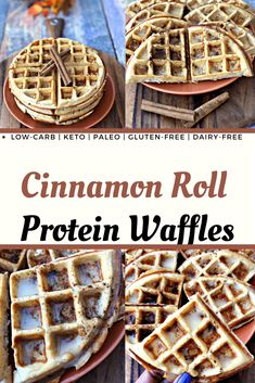 Easy Low-Carb Gluten-Free Cinnamon Roll Protein Waffles is a healthy keto, paleo, dairy-free, recipe that is quick to make using coconut flour and vegan butter. Dairy Free Waffles, Low Carb Waffles, Healthy Waffles, Protein Waffles, Keto Pancakes, Protein Snacks, High Protein Low Carb, Healthy Protein, Healthy Foods