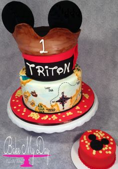 Pirate Mickey first birthday cake with smash cake, hand painted treasure map