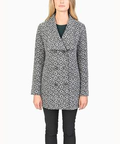 Black & White Double-Breasted Wool-Blend Peacoat by Evette & K #zulily #zulilyfinds