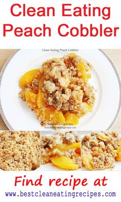 Try today's clean eating dessert peach cobbler! Sweet peaches topped with organic brown rice flour - easy healthy recipe that's great for clean eating diet plan! Paleo Dessert, Healthy Dessert Recipes, Clean Eating Recipes, Real Food Recipes, Healthy Snacks, Yummy Food, Healthy Eating, Paleo Sweets, Fun Food
