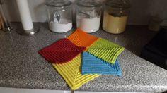 Bright Crocheted Mitered Dishcloth/Potholder Set by BizzyBeeGifts, $9.00