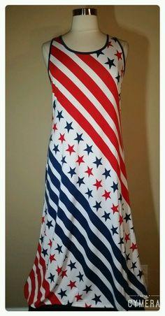 31aaa4d0500 Women s Plus Size Maxi Dress Red Blue Stripes Stars Sundress Cover Up 1X 2X  3X